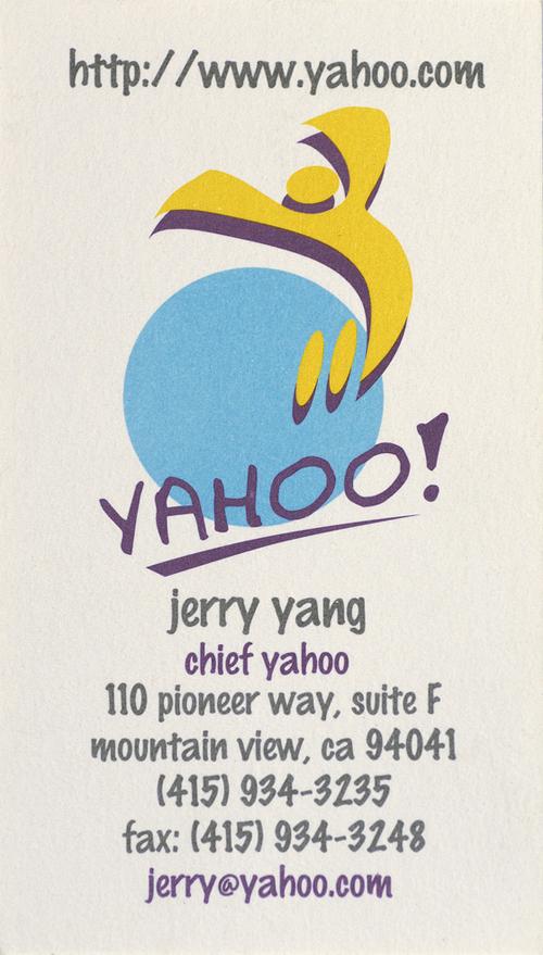 Jerry Yang Business Card [ Chief Yahoo, Yahoo!]